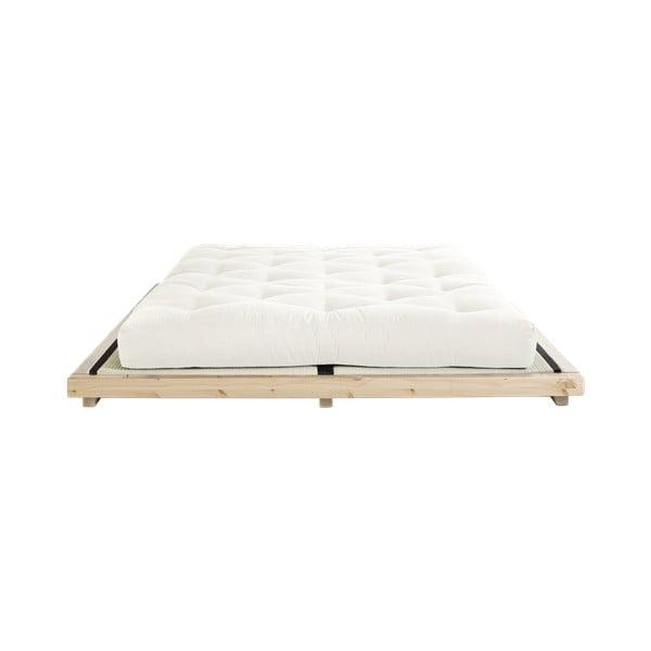 Pat dublu din lemn de pin cu saltea și tatami Karup Design Dock Comfort Mat Natural/Natural, 160 x 200 cm