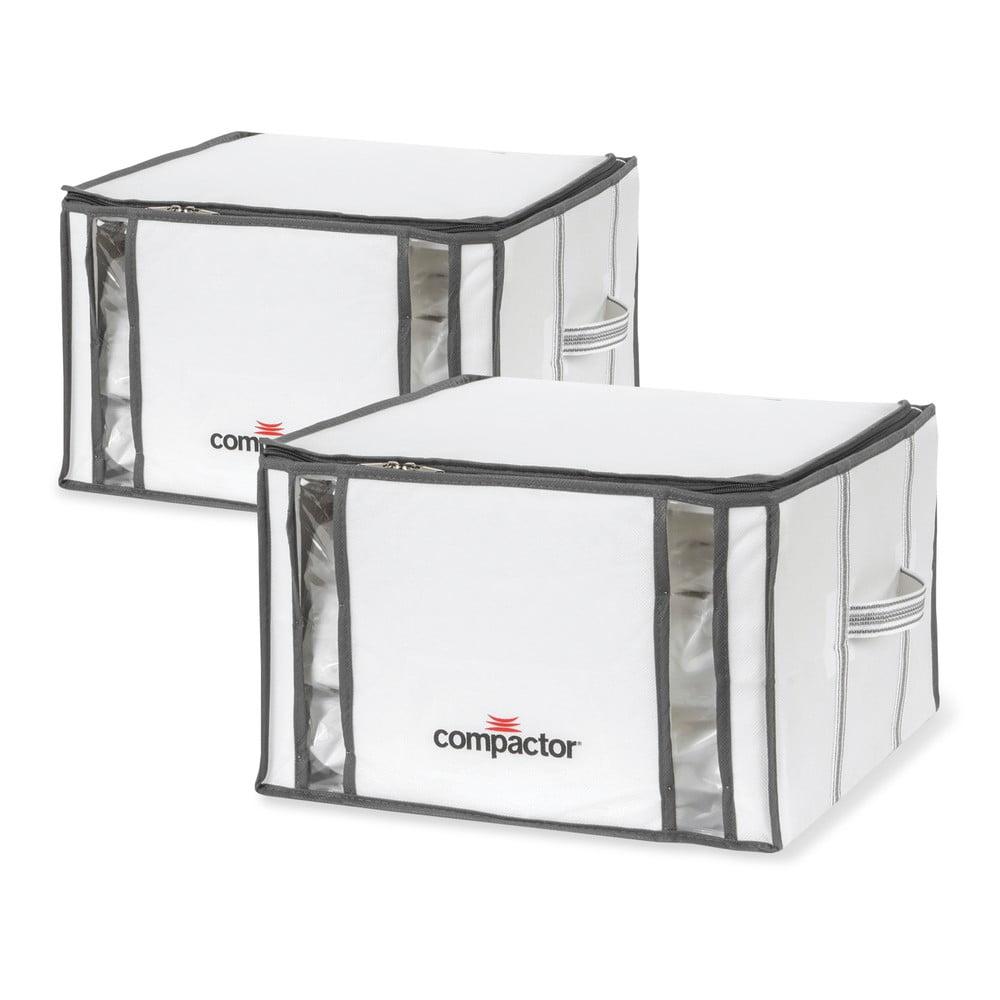 Sada 2 bílých úložných boxů s vakuovým obalem Compactor Life 3D Vacuum Bag, 40 x 25 cm