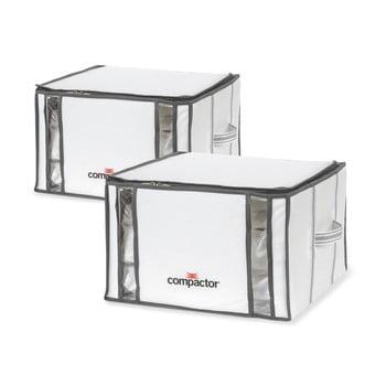 Set 2 cutii cu vid Compactor Life 3D Vacuum, 40 x 25 cm, alb