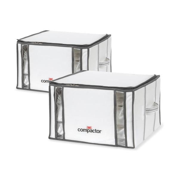 Zestaw 2 białych organizerów z workiem próżniowym Compactor Life 3D Vacuum Bag, 40x25 cm