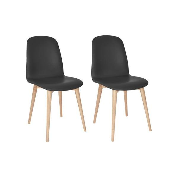 Sada 2 antracitově černých jídelních židlí s nohami z masivního dubového dřeva WOOD AND VISION Classic