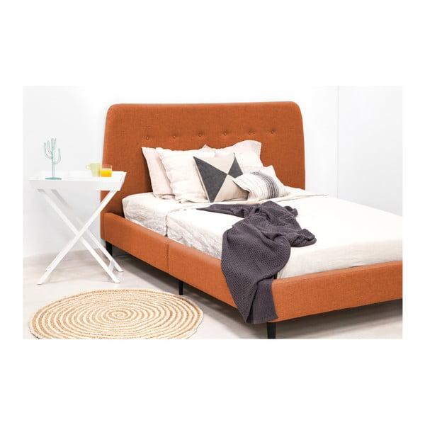 Oranžová dvoulůžková postel s černými nohami Vivonita Mae King Size, 180 x 200 cm