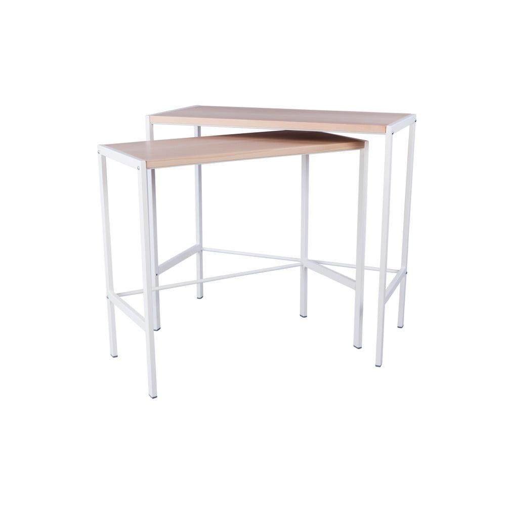 Sada 2 konzolových stolků s deskou z bukového dřeva Nørdifra Simple