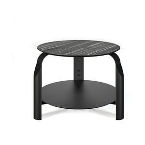 Černý odkládací  stolek s deskou v dekoru ebenového dřeva TemaHome Scale