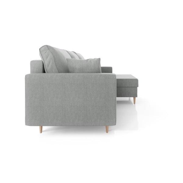 Šedá čtyřmístná rozkládací pohovka s úložným prostorem Mazzini Sofas Aubrieta, pravý roh