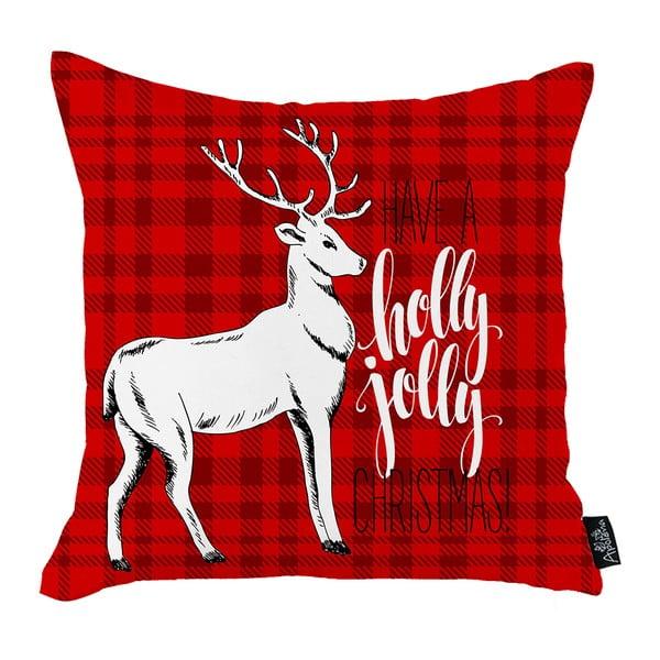 Červená vianočná obliečka na vankúš Apolena Honey Christmas Deer Holly Jolly, 45 x 45 cm