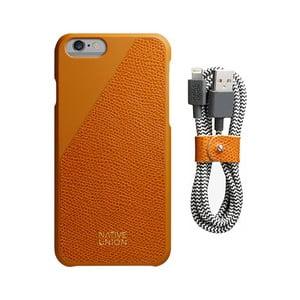 Set oranžového obalu z pravé kůže a nabíjecího kabelu pro iPhone 6 a 6S Plus Native Union Clic Leather Belt
