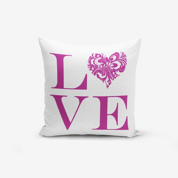 Love Purple pamutkeverék párnahuzat, 45 x 45 cm - Minimalist Cushion Covers