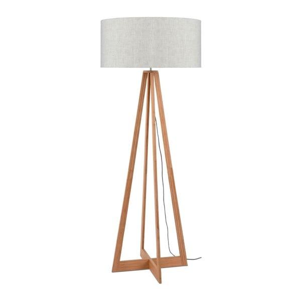 Stojací lampa se světle béžovým stínidlem a konstrukcí z bambusu Good&Mojo Everest