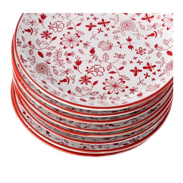Farfurie Unimasa Meadow, Ø 20,3 cm, roșu - alb