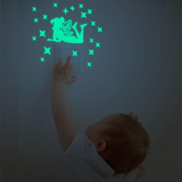 Sada nástěnných dětských svítících samolepek Ambiance Glow In The Dark Fairies