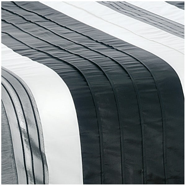 Povlečení na dvoulůžko z bavlněného saténu Descanso Black Bars, 200 x 200 cm
