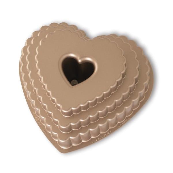 Forma do babki w kształcie serca w karmelowym kolorze Nordic Ware Heart, 2,8 l
