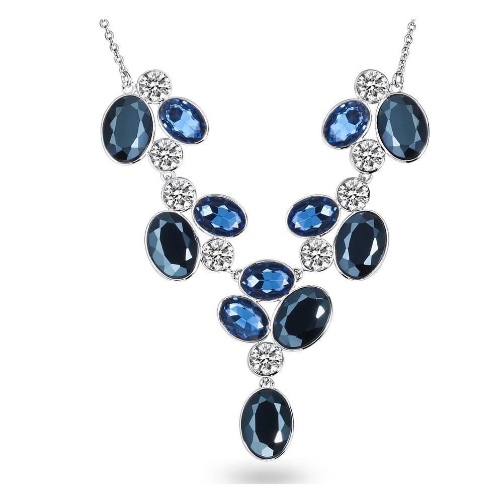 Dámský náhrdelník stříbrné barvy s modrými krystaly Runaway