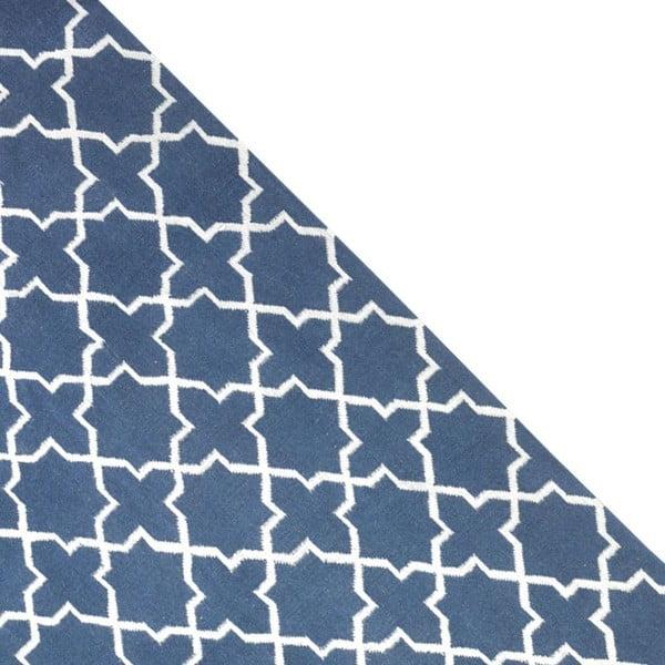Vlněný koberec Geometry Grey Blue & White, 160x230 cm