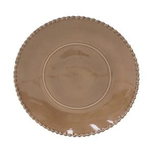 Kakaově hnědý kameninový servírovací talíř Costa Nova Pearl, ⌀33cm