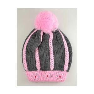 Dívčí čepice Beret Graphite/Pink