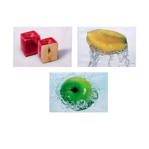 Set 3 dřevěných obrazů Apples, 50x36 cm