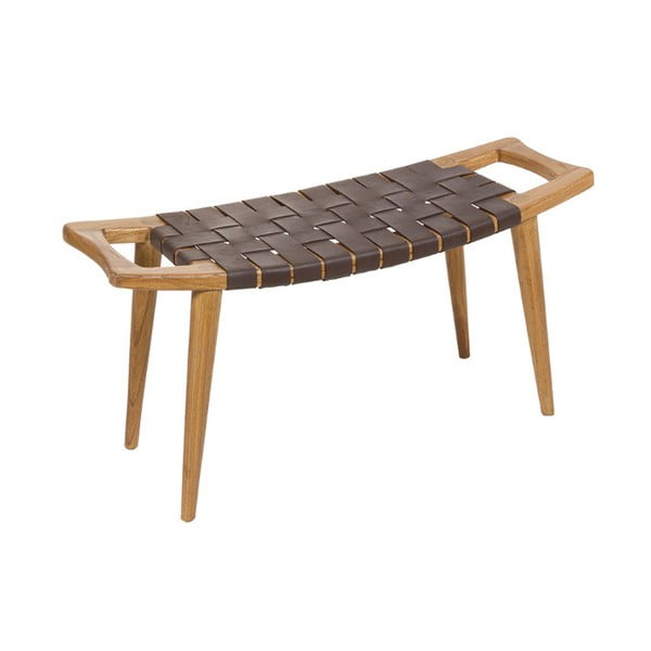 Stolik z drewna mindi z plecionką ze skóry wołowej Santiago Pons Sawyer