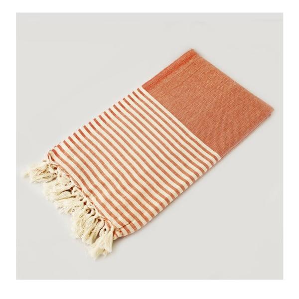 Oranžovo-bílá osuška s pruhy Hammam Marine Style, 100  x  170 cm