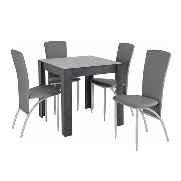 Set jídelního stolu a 4 šedých jídelních židlí Støraa Lori Nevada Duro Slate Light Grey