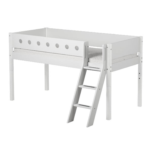 Białe łóżko dziecięce średniej wielkości z drabinką Flexa White, 90x200 cm