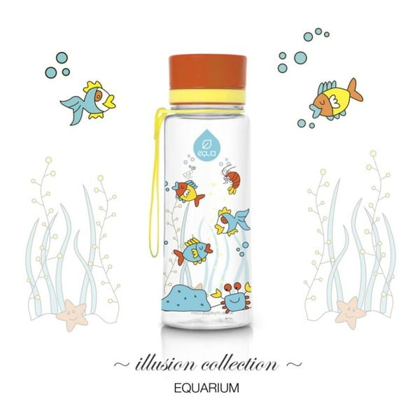 Oranžová plastová lahev Equa Equarium, 0,6 l