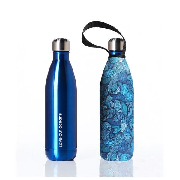 Niebieska butelka podróżna ze stali nierdzewnej z pokrowcem BBBYO Wind, 750 ml