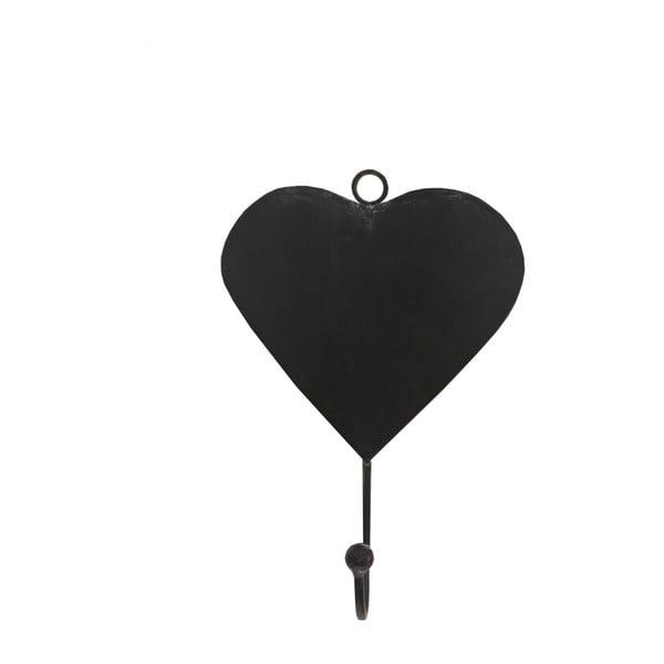 Černý kovový háček ve tvaru srdce Antic Line