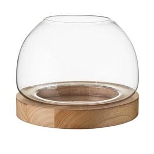 Stojan na svíčku ze dřeva a skla Unimasa, 25,5 x 20 cm