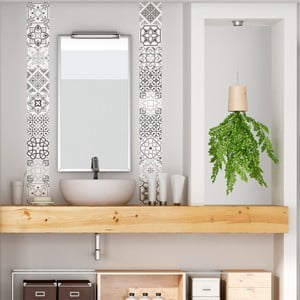 Set 30 autocolante Ambiance Cement Tiles Shade of Gray Bari, 10 x 10 cm