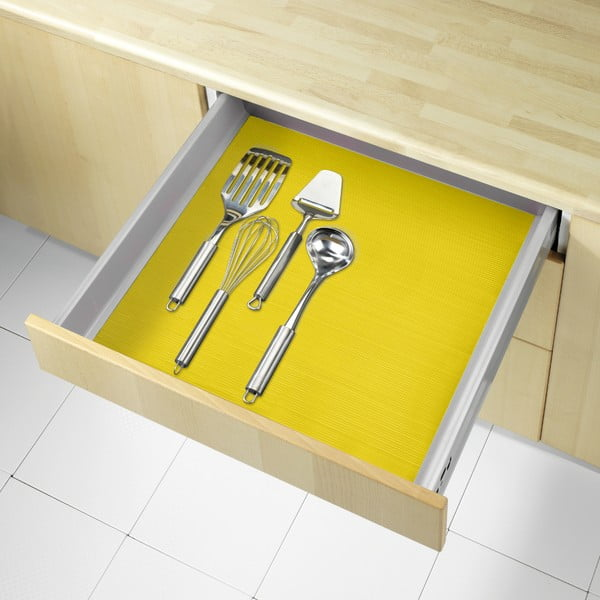 Žltá protišmyková podložka do zásuvky Wenko Anti Slip, 150×50 cm
