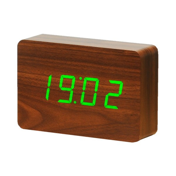 Ceas deșteptător cu LED Gingko Brick Click Clock, maro-verde