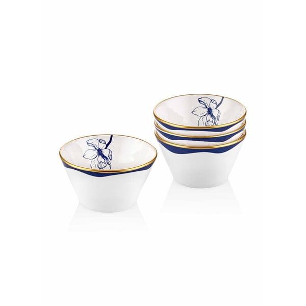 Sada 4 bílých porcelánových misek s modrým květem Mia Bleu, ⌀ 10 cm
