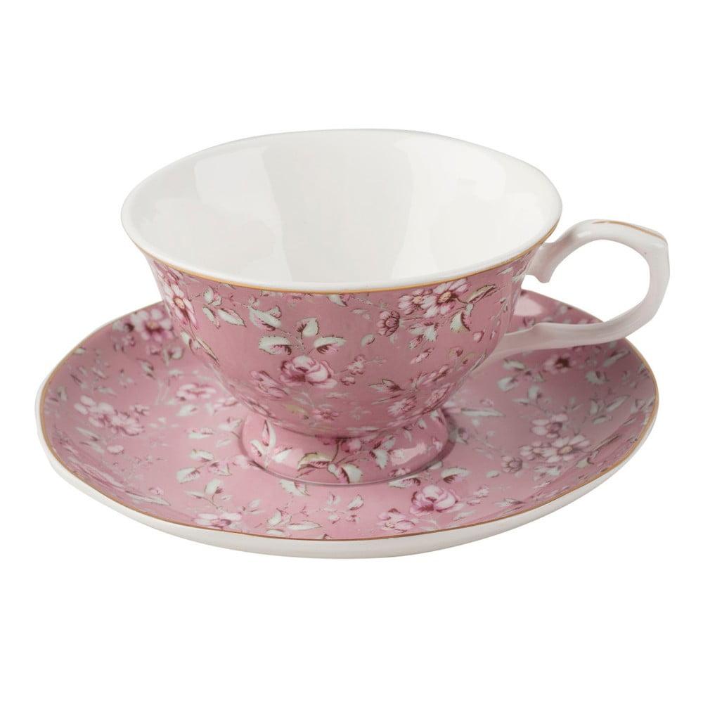 Růžový porcelánový hrnek s podšálkem Creative Tops Ditsy,200ml