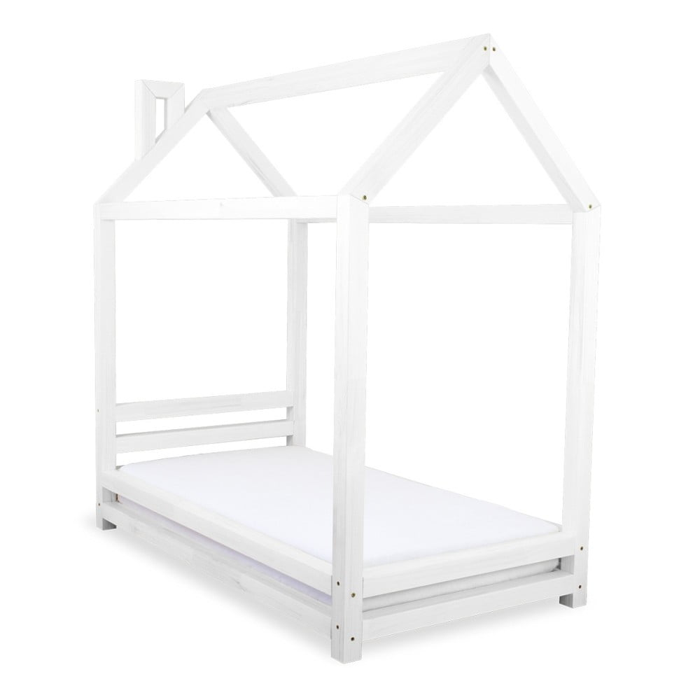 Dětská bílá postel z borovicového dřeva Benlemi Happy, 80 x 160 cm