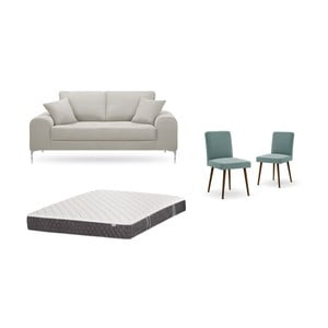 Set dvoumístné krémové pohovky, 2šedozelených židlí a matrace 140 x 200 cm Home Essentials