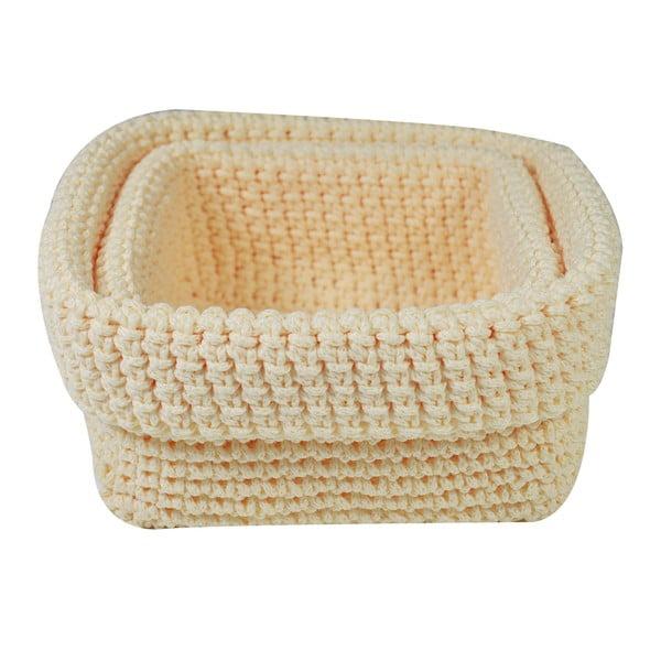 Set 2 béžových háčkovaných košíků Jocca Crochet