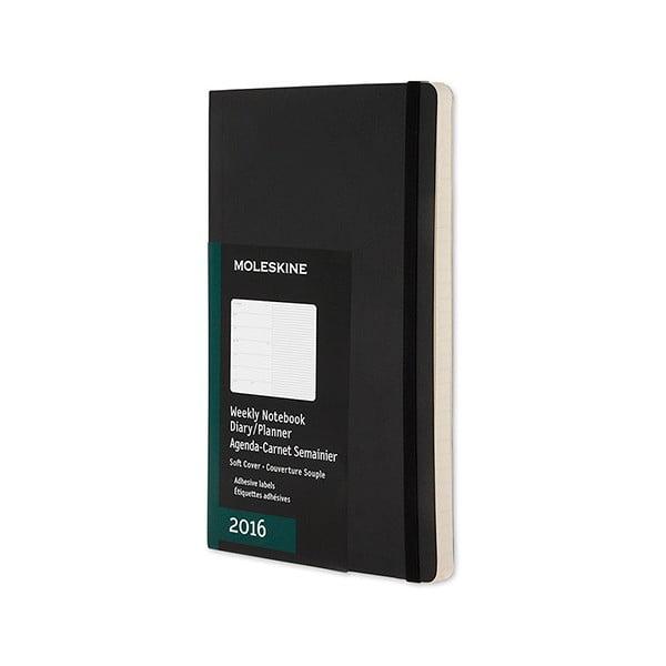 Týdenní diář Moleskine Notebook, 9x14 cm