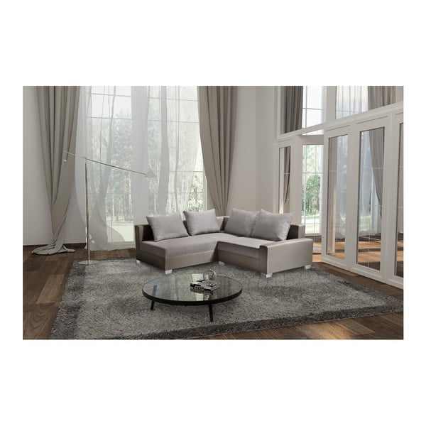 Canapea cu șezlong partea stângă Interieur De Famille Paris Aventure, gri - maro