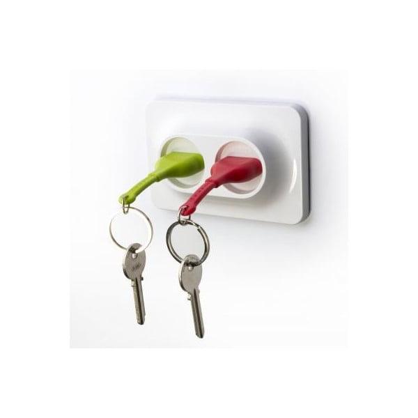 Nástěnný držák s klíčenkami QUALY Double Unplug, zelená-červená