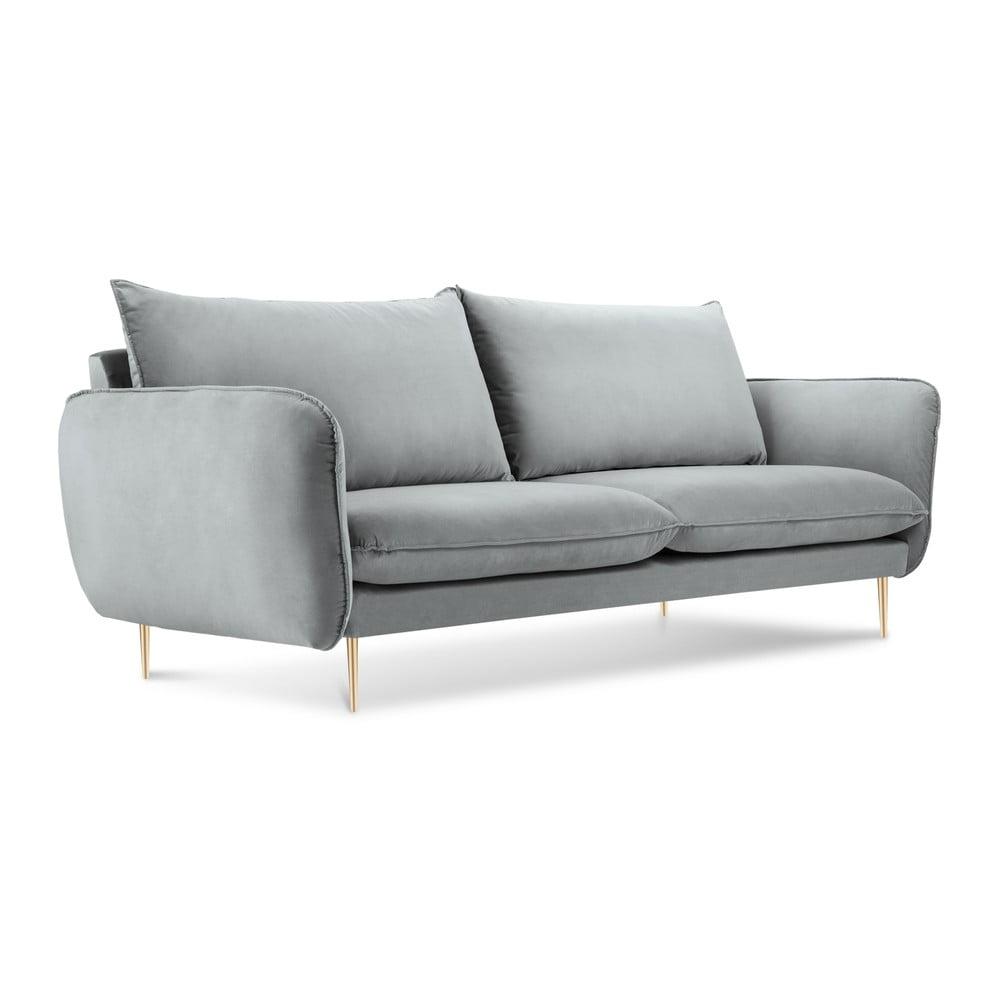 Světle šedá pohovka se sametovým potahem Cosmopolitan Design Florence Cosmopolitan design