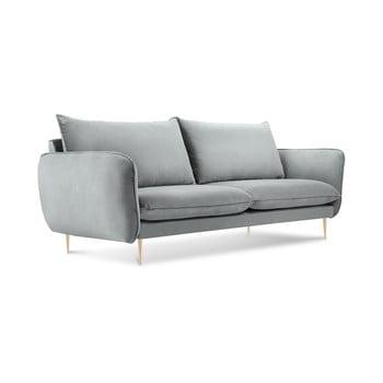 Canapea cu tapițerie din catifea Cosmopolitan Design Florence, gri deschis de la Cosmopolitan Design