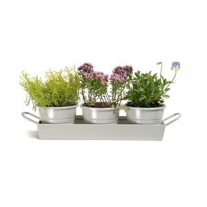 Sada květináčů Garden Clay s podnosem, 3 ks