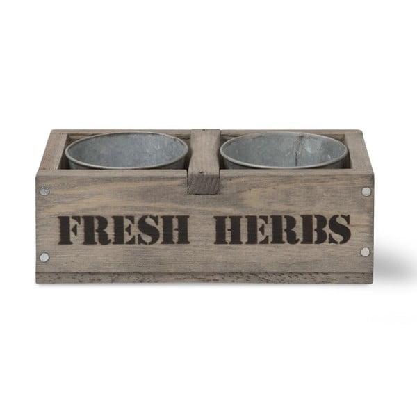 Sada 2 květináčů v bedně ze smrkového dřeva Garden Trading Fresh Herbs