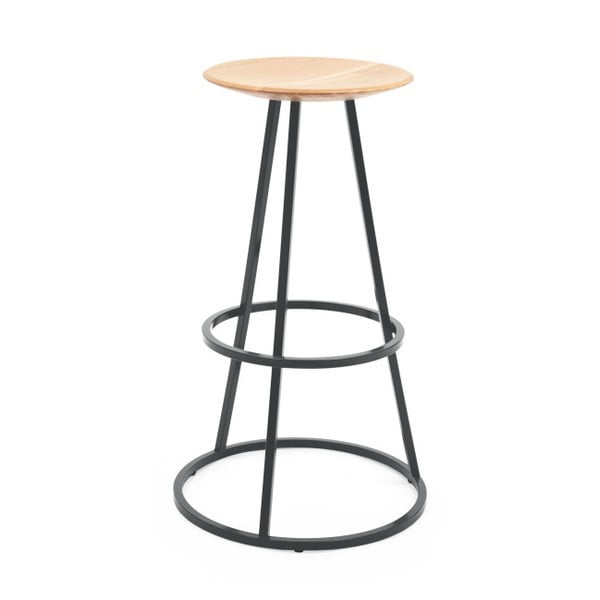 Barová stolička s dubovou deskou a šedou kovovou konstrukcí HARTÔ Gustave, výška 65cm