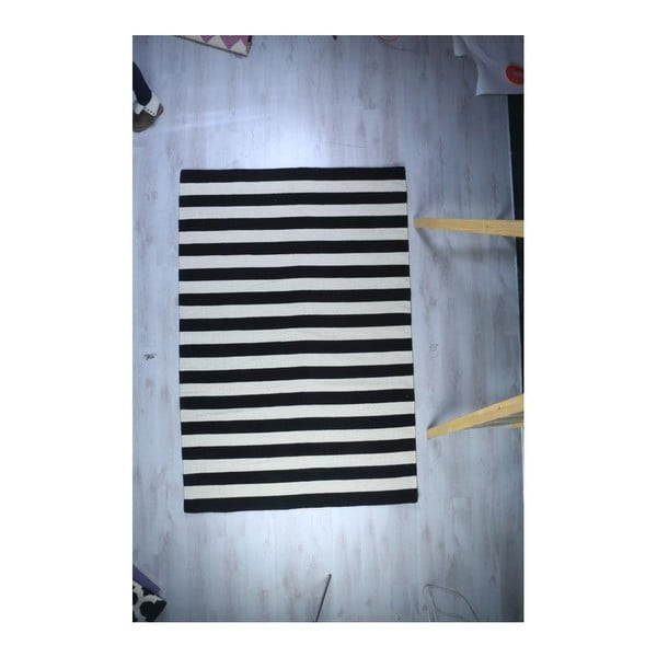 Vlněný koberec Geometry Stripes Black & White, 160x230 cm