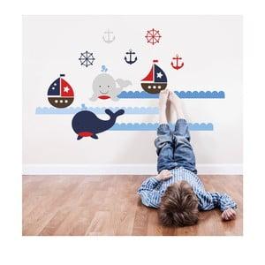 Samolepka na stěnu  Velryby a lodě