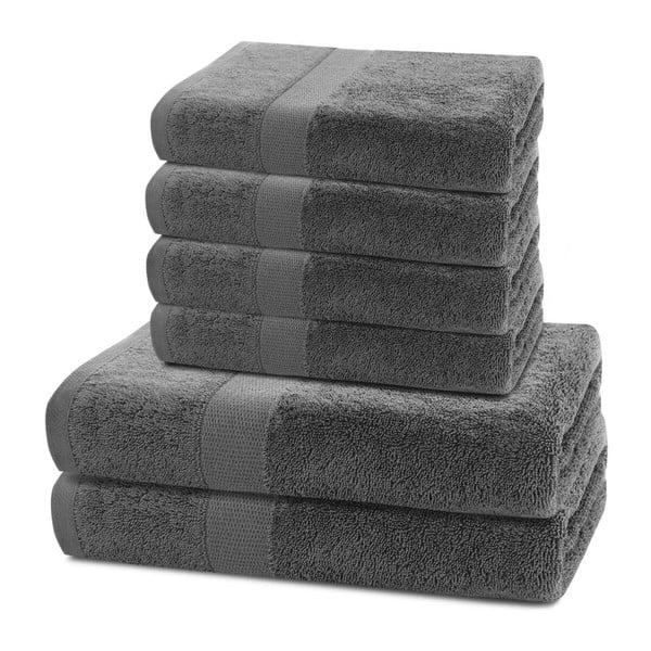 Set 2 tmavě šedých osušek a 4 ručníků DecoKing Marina