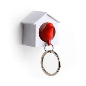 Věšák na klíče vrabčák v budce MINI, červená